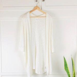 Velvet by Graham & Spencer White Knit Cardigan Med